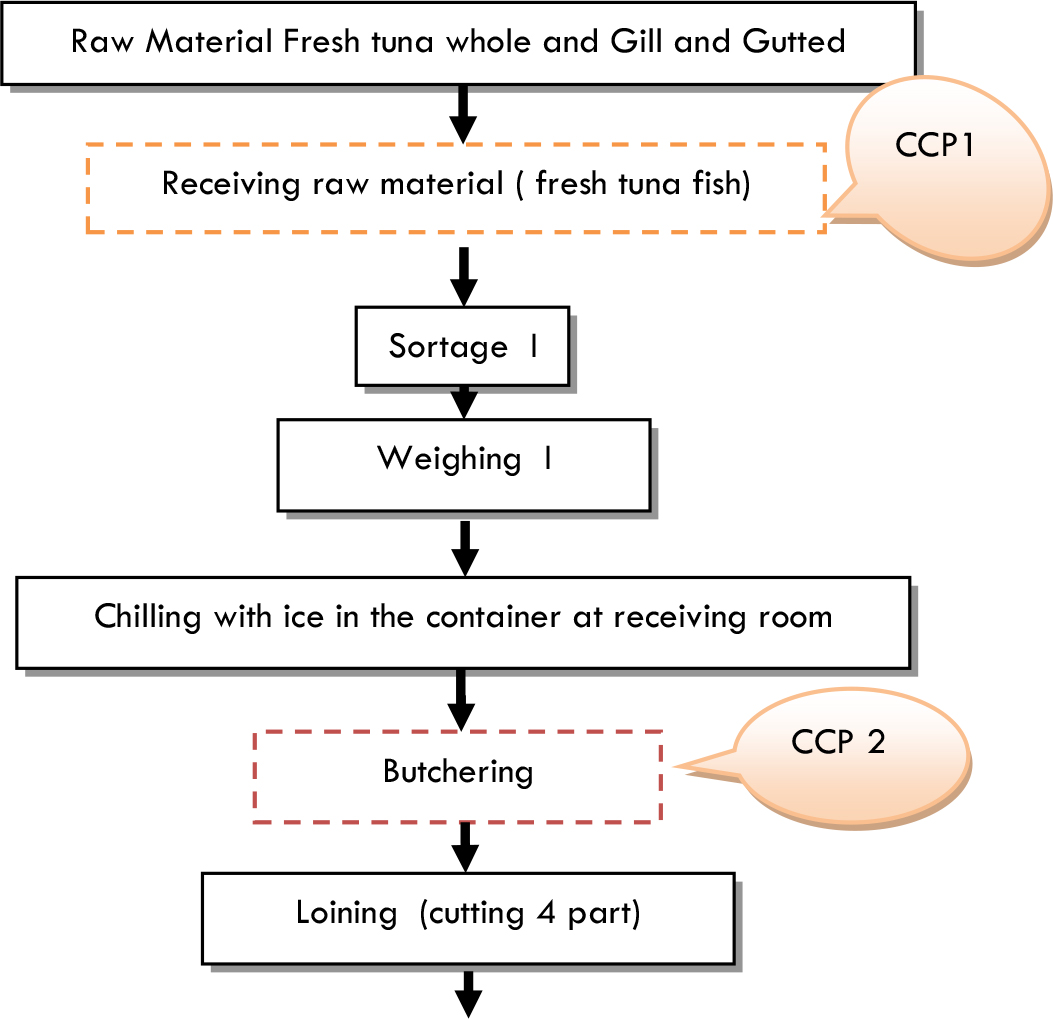 Food processing flow chart gallery free any chart examples evaluation and implementation haccp of frozen tuna saku esulima flow chart and verification nvjuhfo gallery buycottarizona Gallery